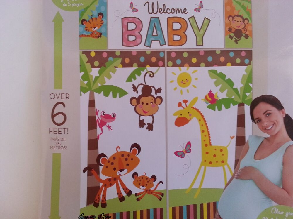 Jungle Party Wall Decorations : Welcome baby setter wall banner jungle safari