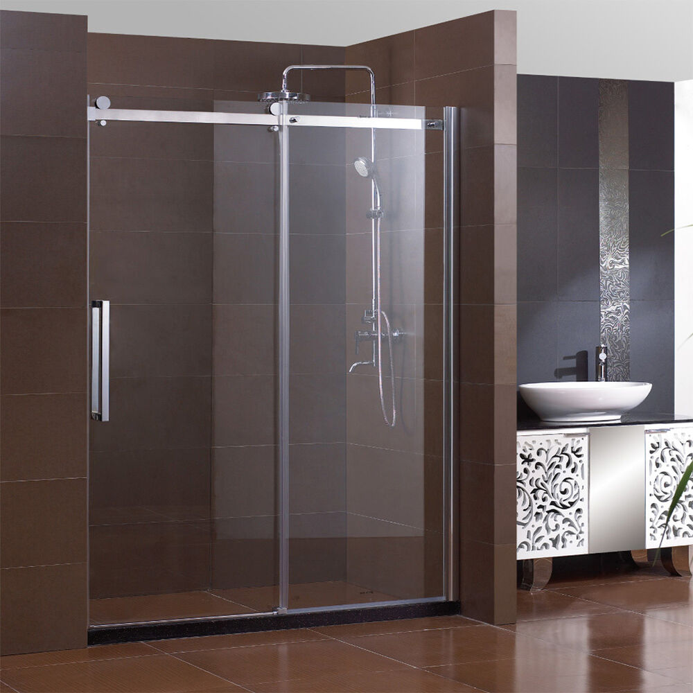 "Bathroom Sliding Glass Doors: SUNNY SHOWER 60"" Semi-Frameless Sliding Shower Doors 5/16"