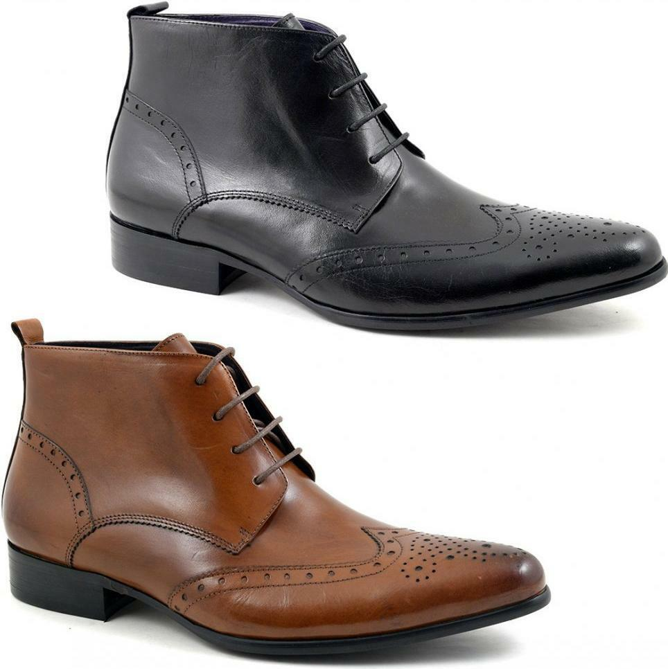 e68539b8f838 Gucinari EDRIS Mens Shiny Leather Laced Casual Formal Pointed Brogue Derby  Boots