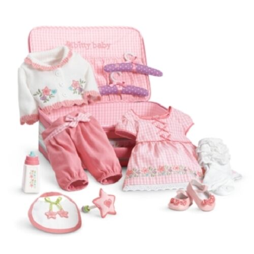 american girl bitty baby deluxe layette starter set outfits pink suitcase bottle ebay. Black Bedroom Furniture Sets. Home Design Ideas