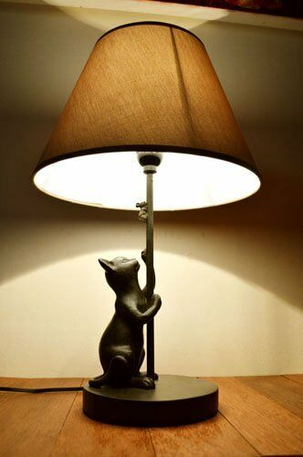 New Indirect Lighting Stand Light ♪ Bronze Tone Cat Stand