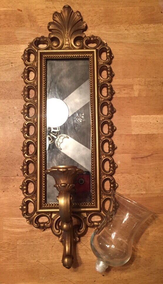 Vtg Smoked Glass Wall Mirror Votive Candle Holder Sconce Gold Dart Syroco Homco eBay