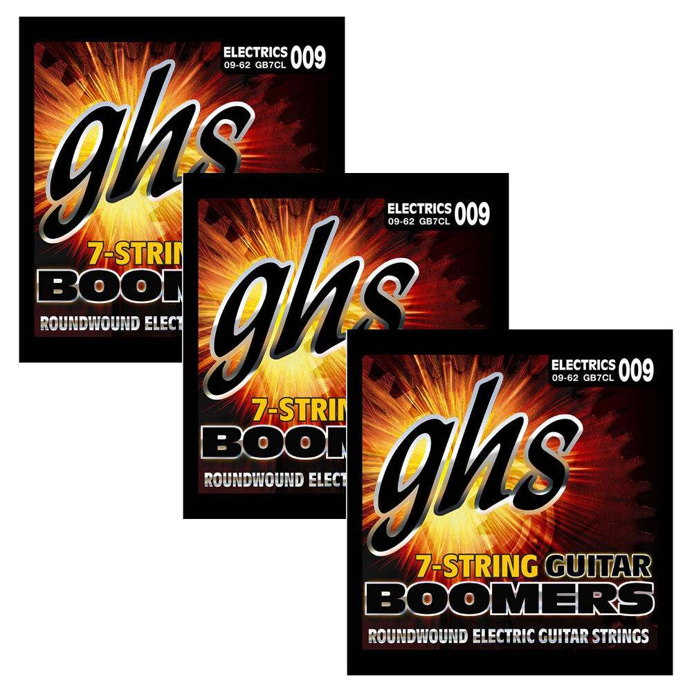 3 sets of ghs strings gb7cl 7 string lower tuning guitar boomers 09 62 ebay. Black Bedroom Furniture Sets. Home Design Ideas