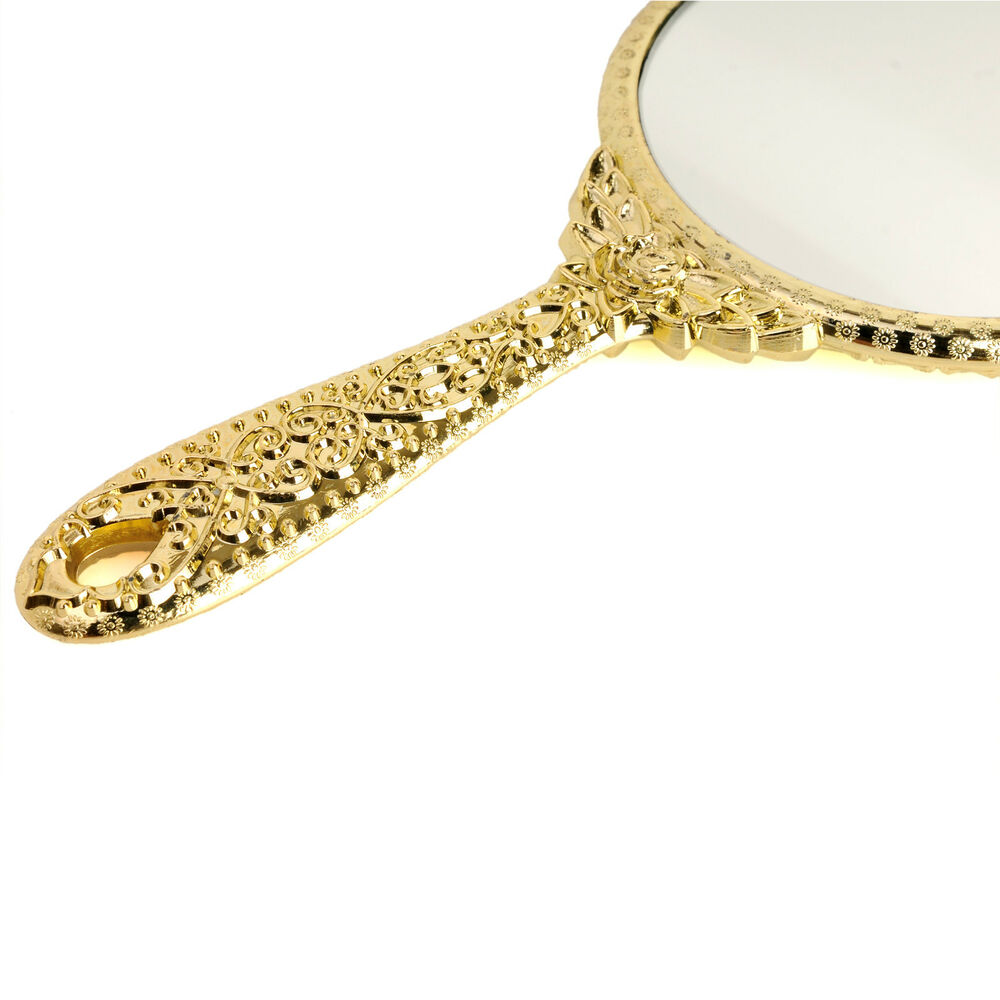 Small vintage antique style round gold hand held vanity for Small gold mirror