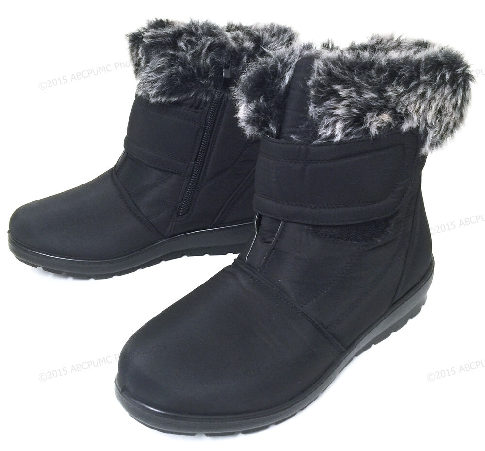 Womens Winter Boots Hook and Loop Fashion Zipper Warm Fur