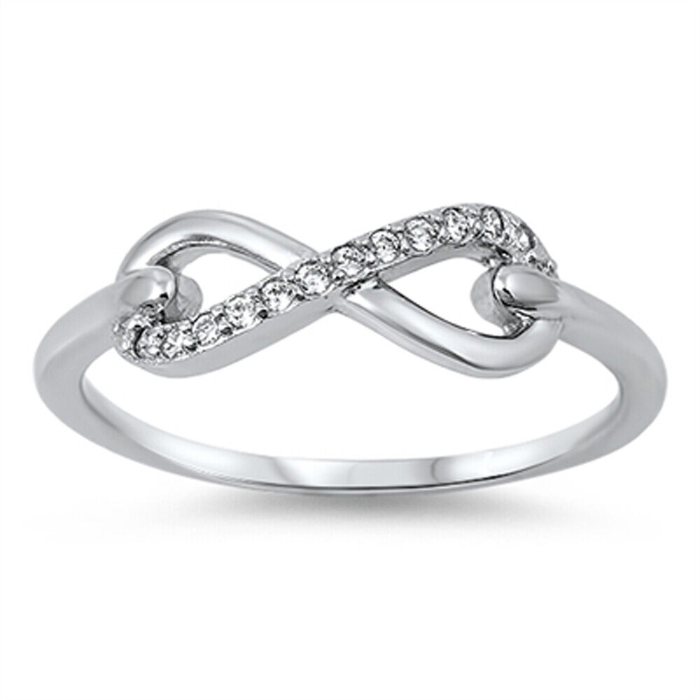 s infinity clear cz promise ring new 925 sterling