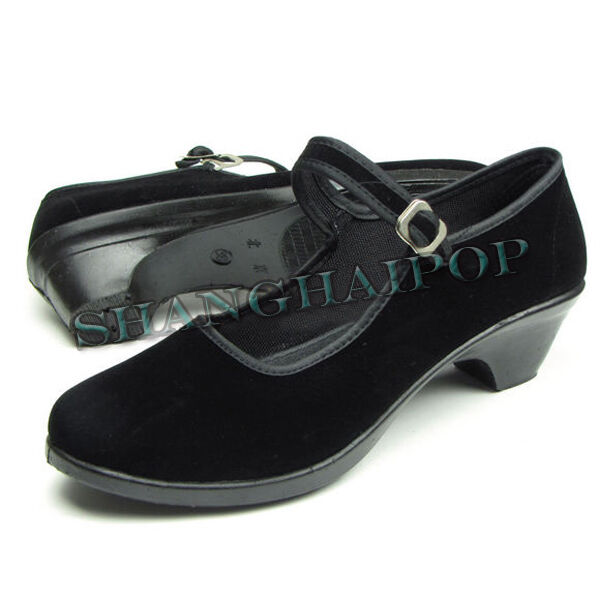 Women Black Mary Jane Wedge Shoes Cotton Comfortable Lady