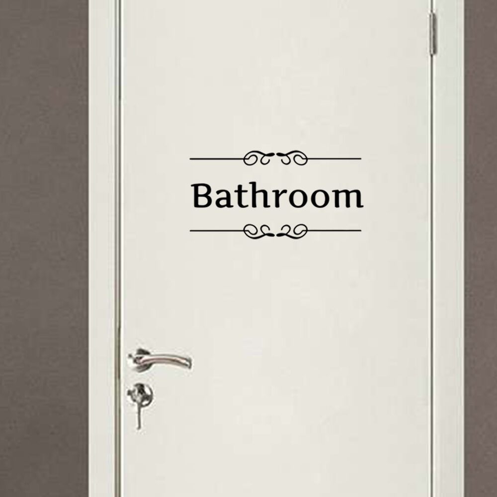 Wall art bathroom toilet door sign decoration vinyl wall for Bathroom door decor