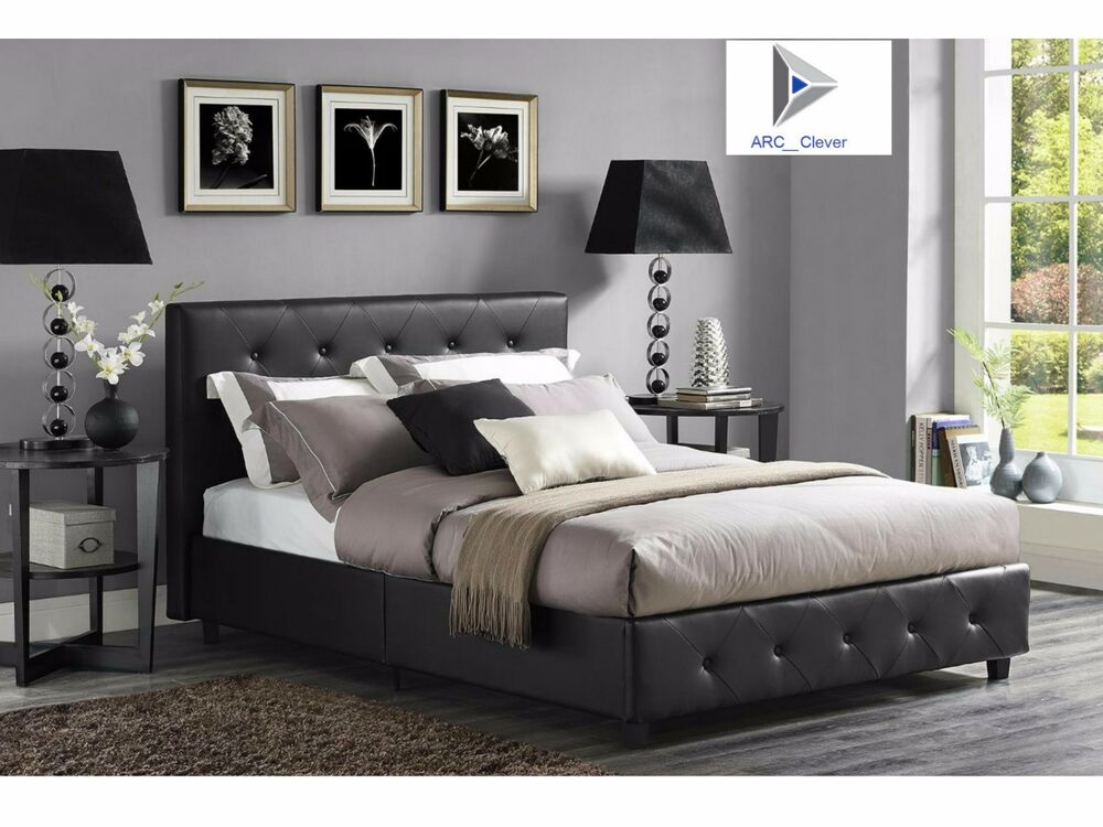 Upholstered Bed Frame Headboard Full Queen Black Faux