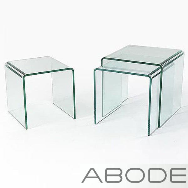 Curved Edge Glass Coffee Table: GLASS NEST OF 3 SIDE TABLES COFFEE SET CURVED END LIVING