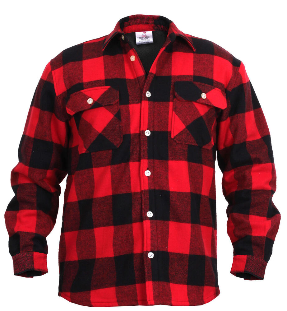 fleece lined flannel shirt red buffalo plaid rotcho 2739 ebay. Black Bedroom Furniture Sets. Home Design Ideas