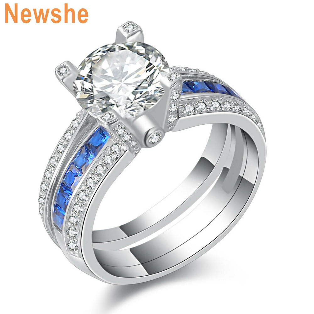 newshe blue cz 925 sterling silver wedding engagement ring set