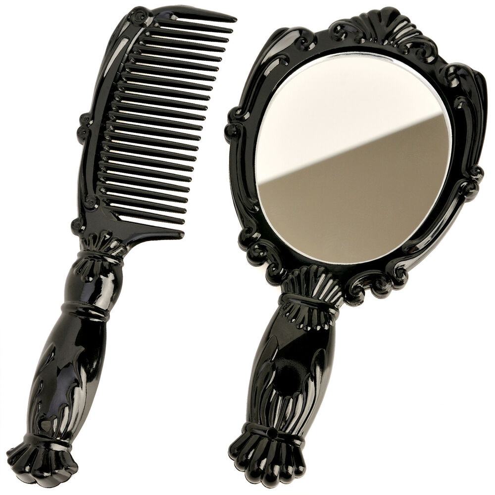 Vintage antique style small hand held vanity comb mirror for Old style mirror