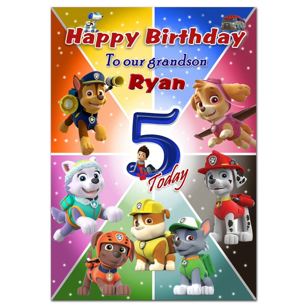 713 personalised greeting card paw patrol special great