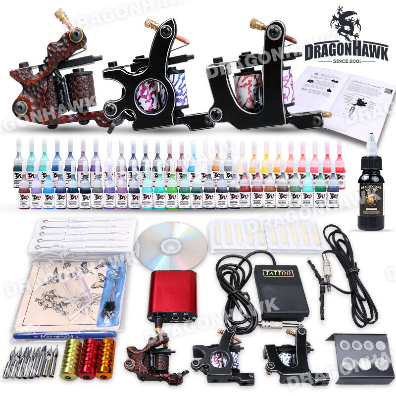 New professional complete tattoo kit 3 machine gun 54 for Tattoo supplies ebay