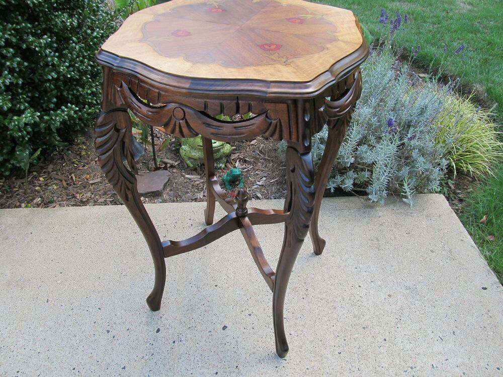 Antique Carved French Style Walnut Side Table With Inlay