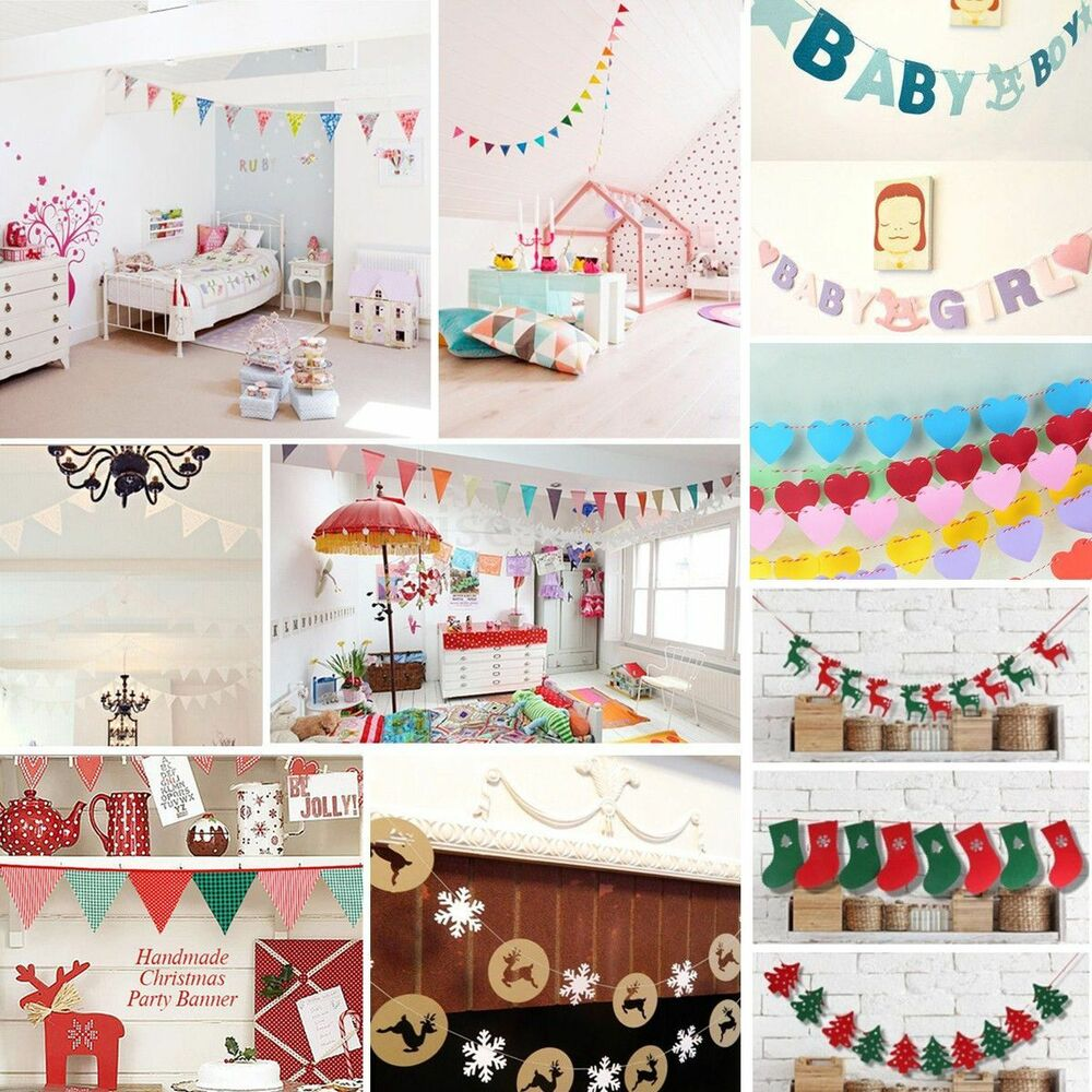 Bunting banner flags garland wedding baby shower birthday for Baby birthday decoration images