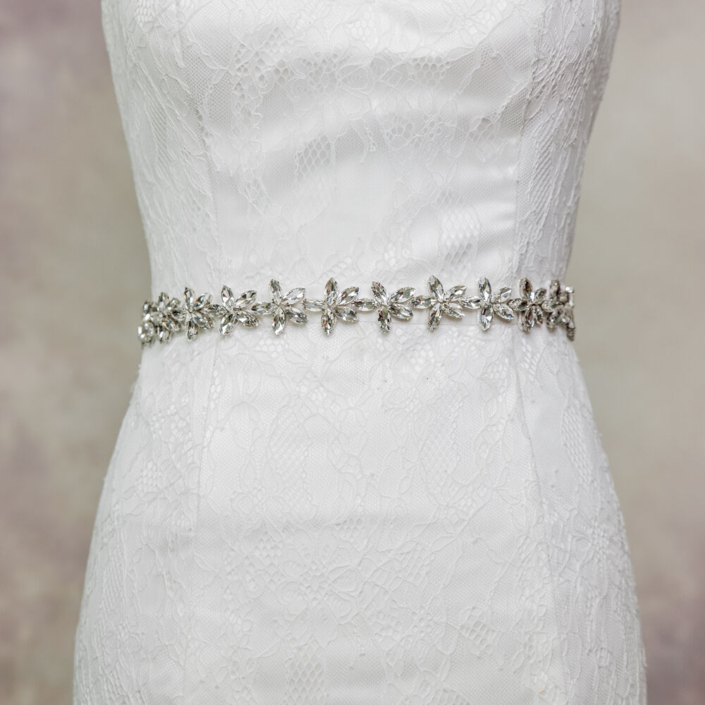 S96 Rhinestone Bridal Sash Pearl Crystal Wedding Dress