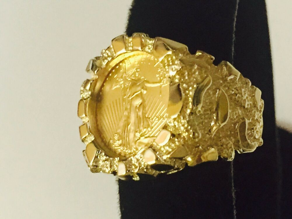 14k Gold Men S 21 Mm Nugget Coin Ring With A 22 K 1 10 Oz