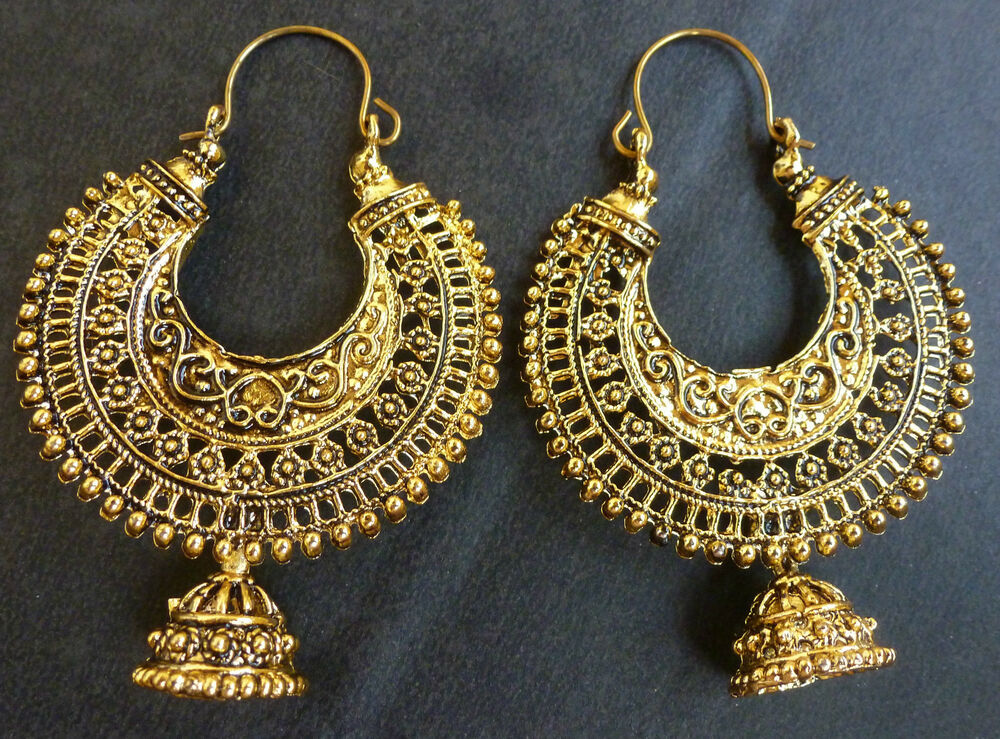 vintage antique gold plated ring chand bali indian jhumka