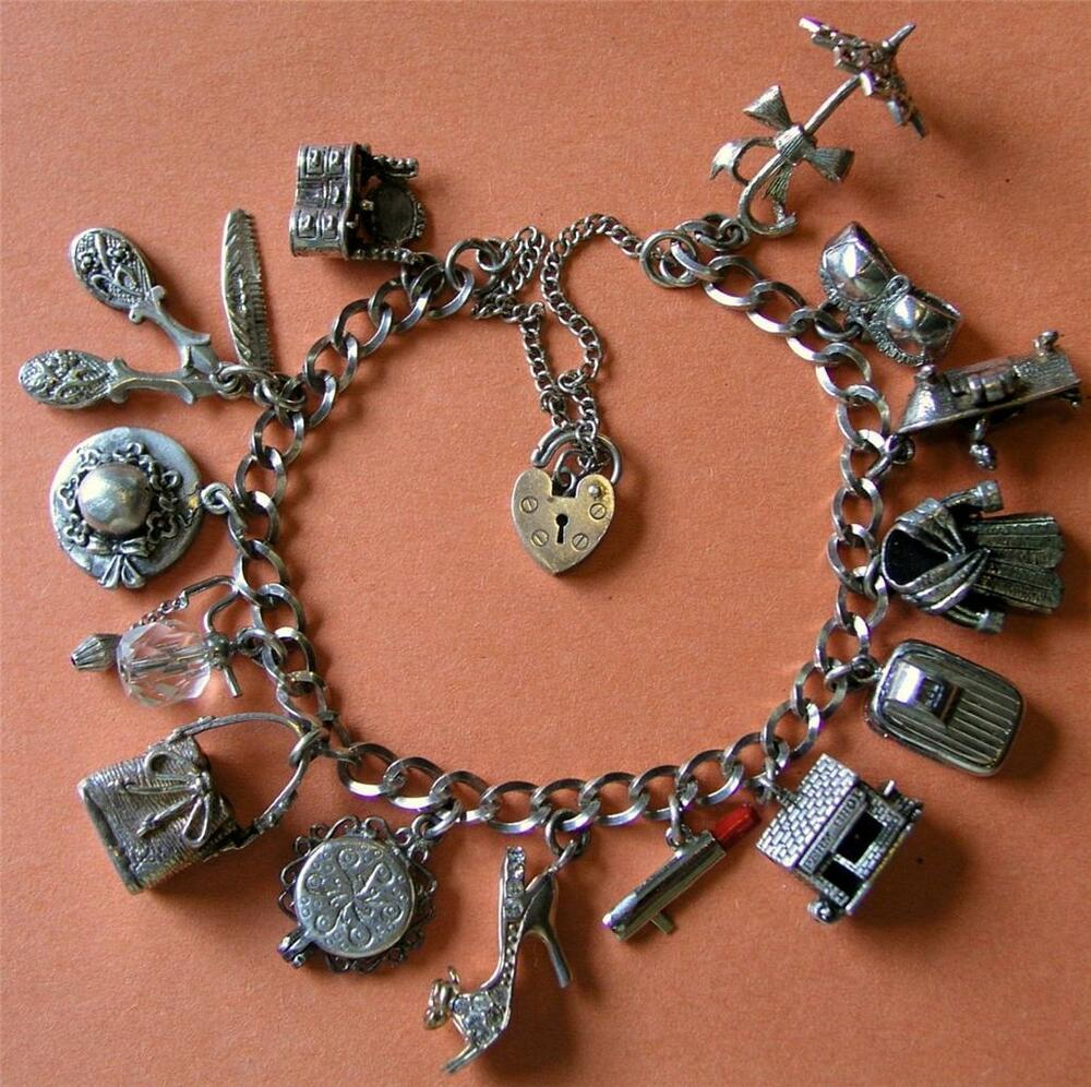 Bead Charms For Bracelets: VINTAGE STERLING SILVER BEAUTY GLITZY CHARM BRACELET W/ 14