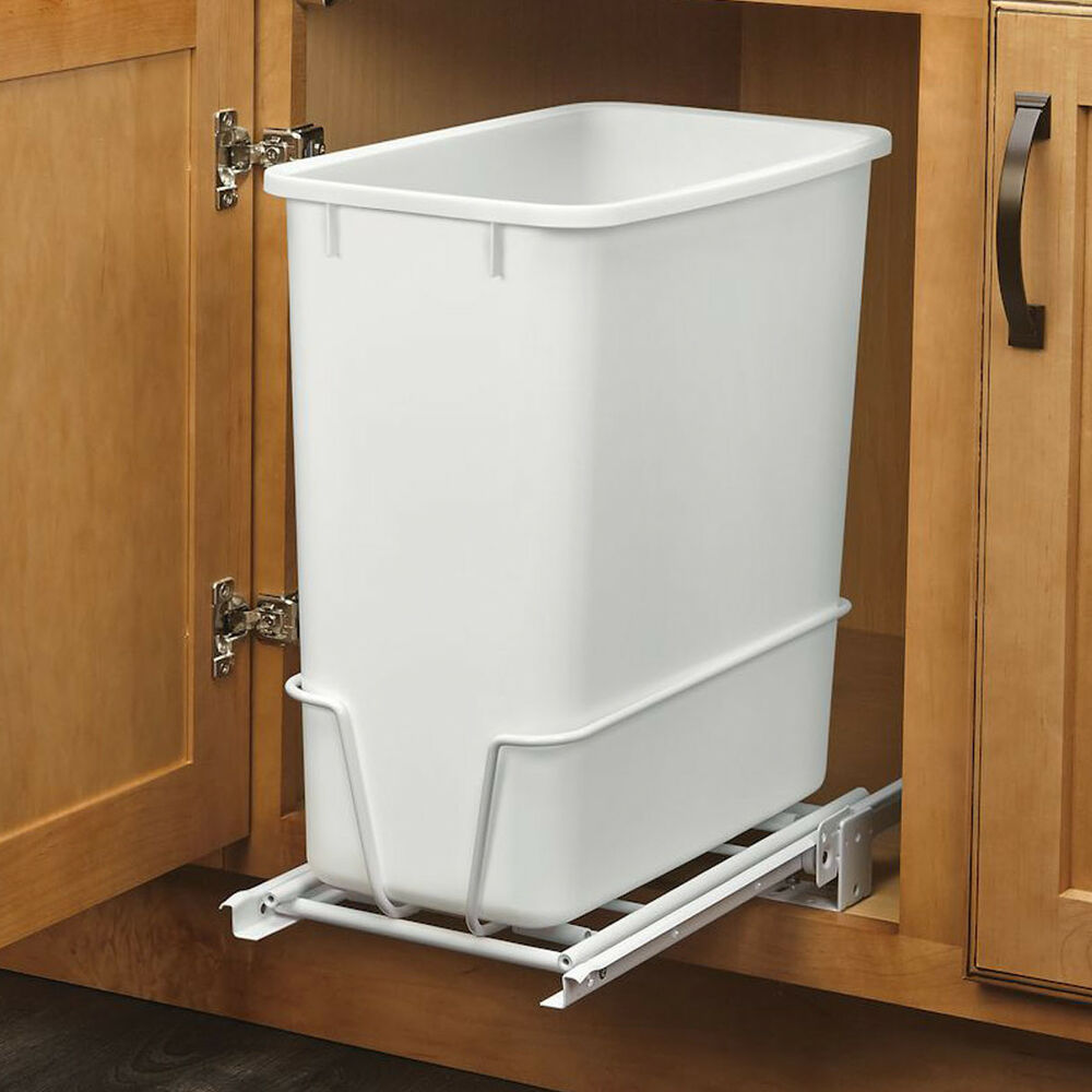 Kitchen Garbage Can Cabinet: 20-Quart White Trash Can Kitchen Waste Bin Garbage Pull