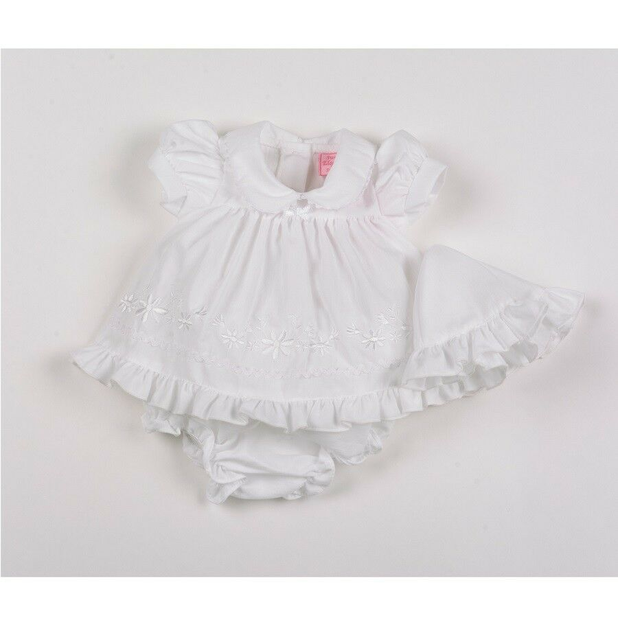 Premature Baby Girl Dress Clothes Set Hat Knickers White