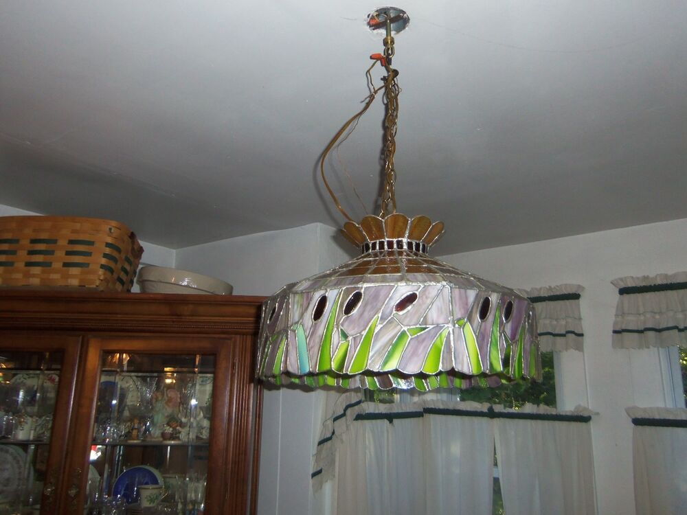 Vintage large stained glass hanging light chandelier kitchen or dining room ebay - Kitchen chandeliers lighting ...