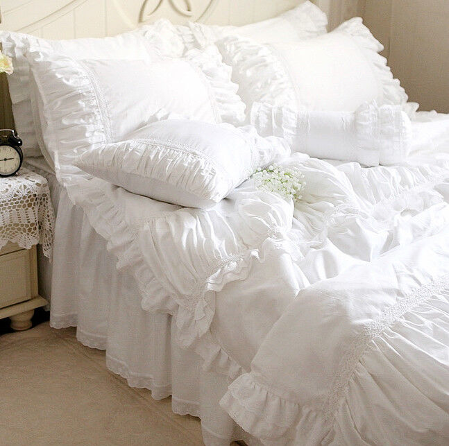Luxury White Ruffle Lace Quilt Duvet Cover Bedding Set
