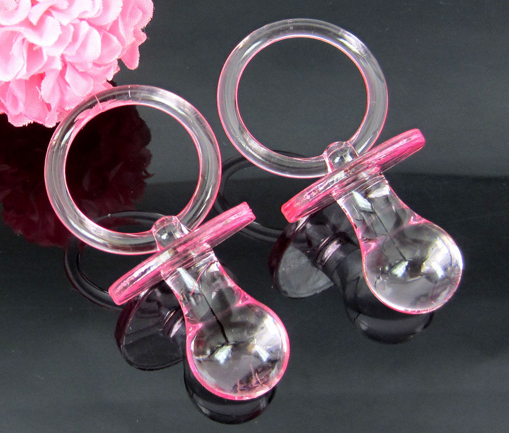 big pacifiers baby shower favors pink clear party decorations