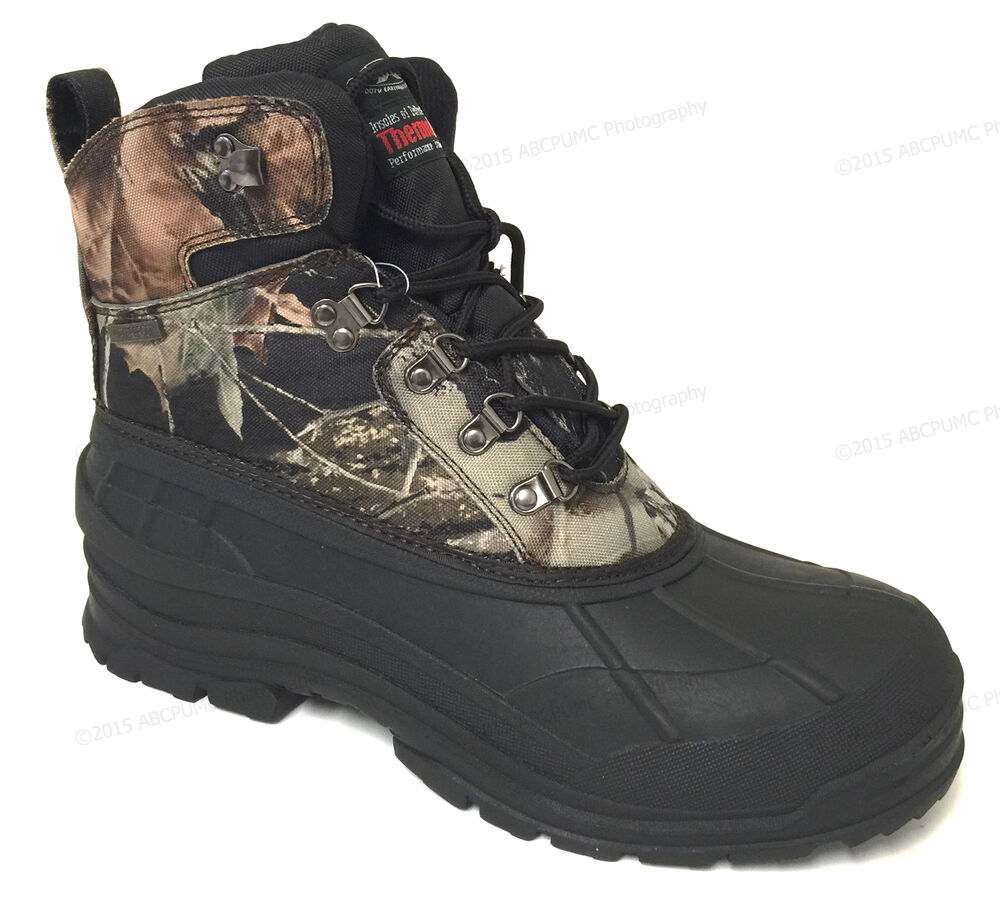 Mens Winter Snow Boots Camouflage Waterproof Insulated