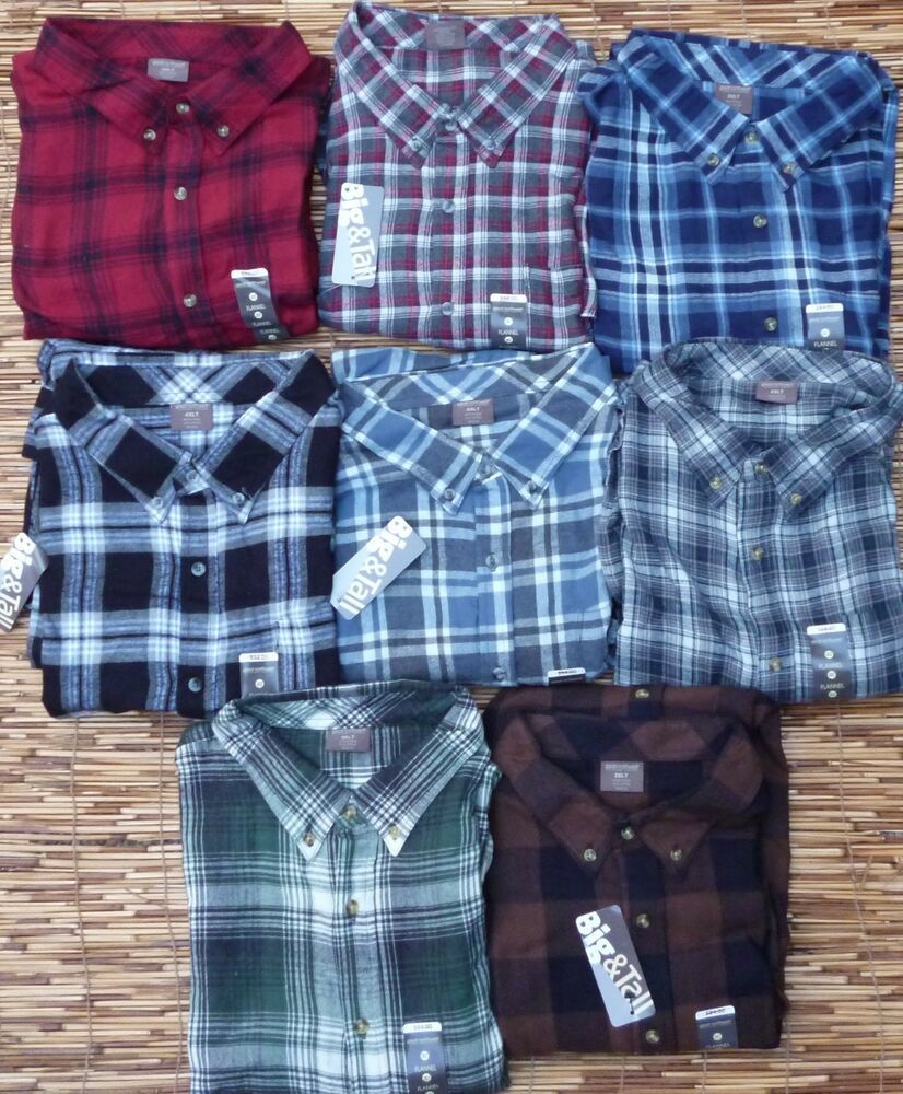 Great northwest big tall mens soft warm cotton flannel for Large tall flannel shirts
