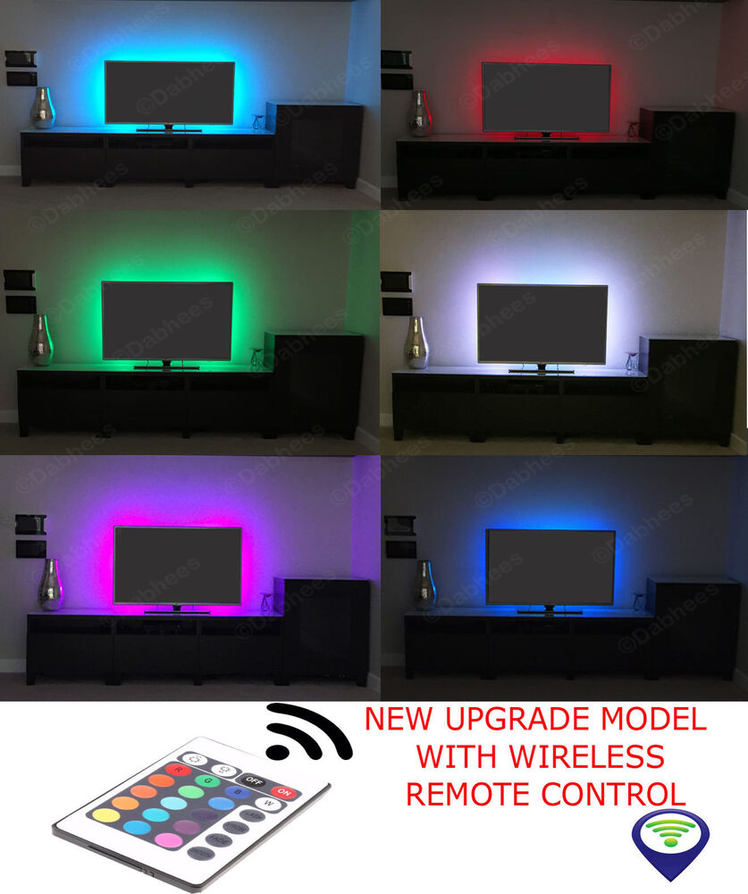 tv usb rgb led strip backlight colour changing lighting. Black Bedroom Furniture Sets. Home Design Ideas