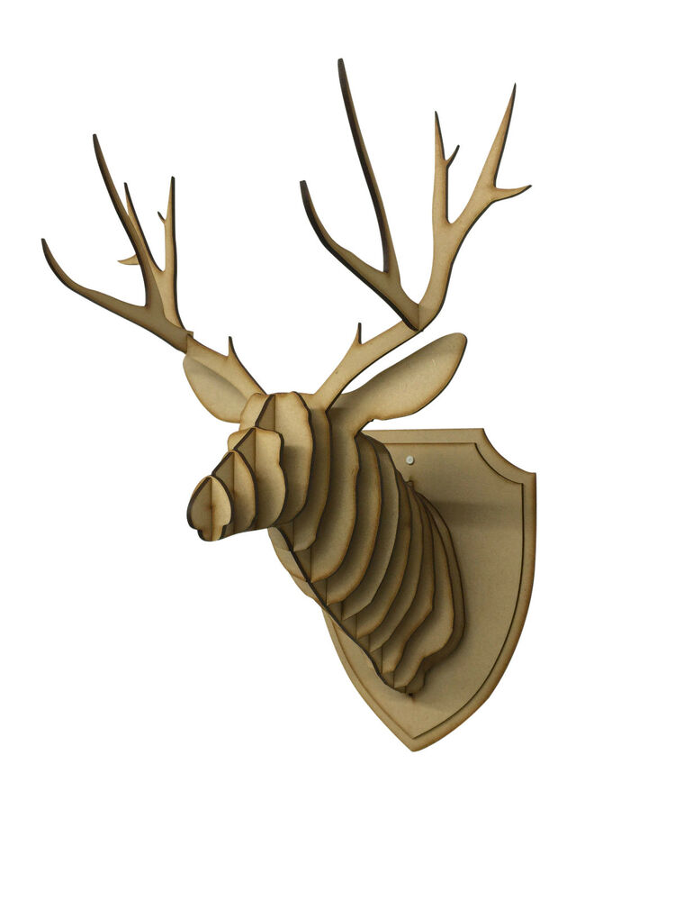 large small wooden deer head wall art hanging 3d stag. Black Bedroom Furniture Sets. Home Design Ideas