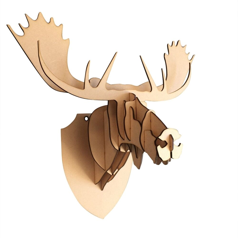 L s wooden moose trophy animal head 3d wall art decor for Animal head wall decoration