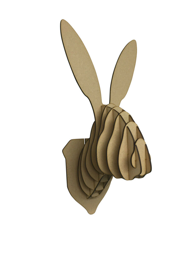L S Wooden Rabbit Bunny Hare Trophy Animal Head 3d Wall Art Kids Home Decor Ebay