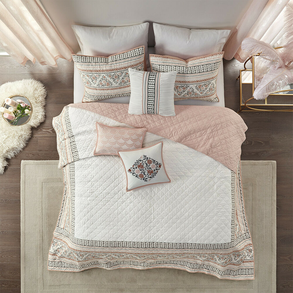 Beautiful Elegant Chic Light Blue Brown Beige Bed In Bag