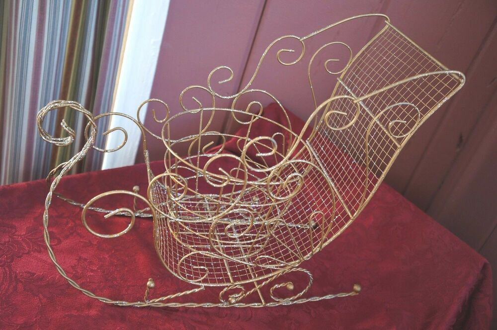 LARGE CHRISTMAS TREE METAL SLEIGH WITH SPARKLES! FOR TABLE