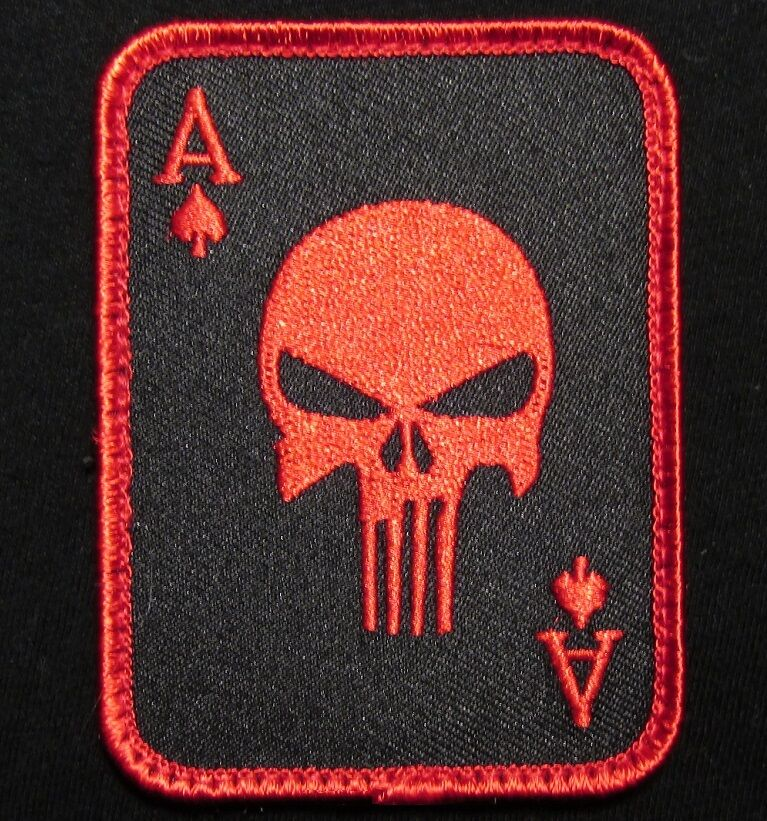 PUNISHER ACE OF SPADES DEATH CARD USA TACTICAL BLACK OPS