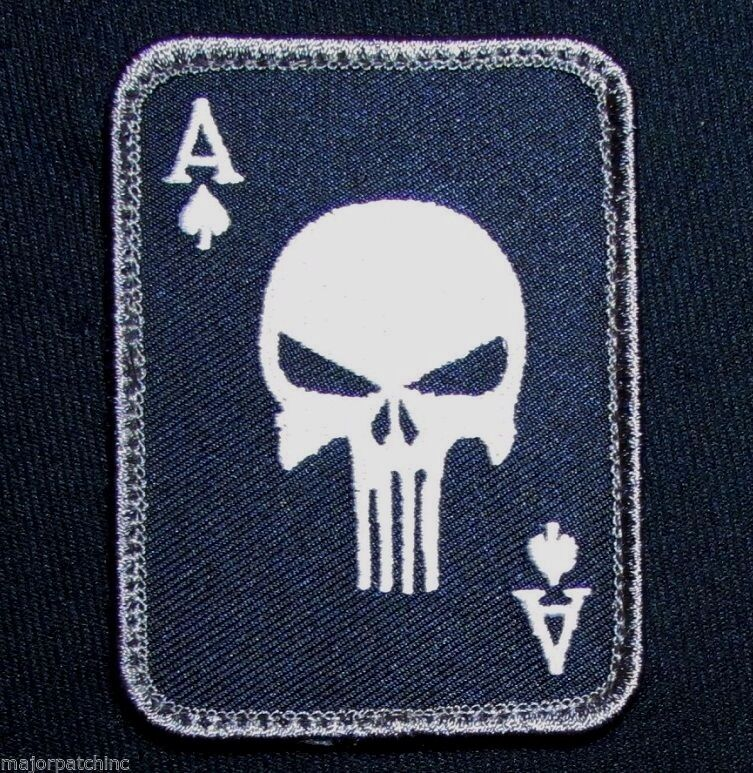 PUNISHER ACE OF SPADES DEATH CARD USA ARMY TACTICAL SWAT