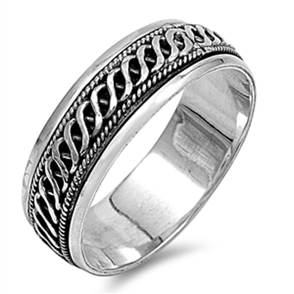 men 39 s celtic weave spinner wedding ring new 925 sterling. Black Bedroom Furniture Sets. Home Design Ideas