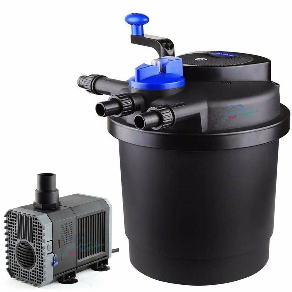 1600 gal pressure pond filter w 13w uv sterilizer koi for Fish pond filter uv light