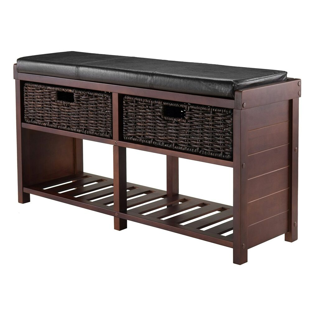 Entryway shoe storage bench colin cushion bench storage baskets rack hall seat ebay Storage bench with cushion
