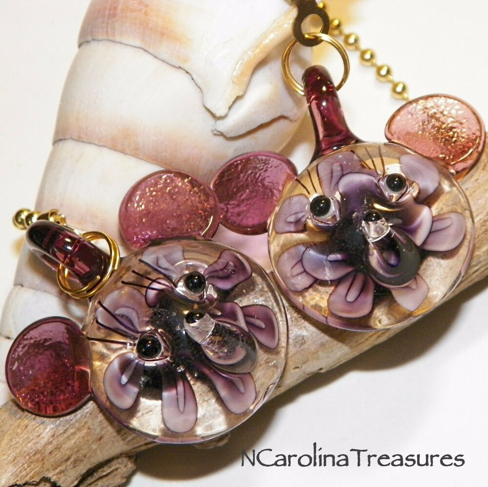 Large Glass Ceiling Fan Pulls: MICKEY MOUSE PURPLE FLORAL MURANO GLASS CEILING FAN PULL