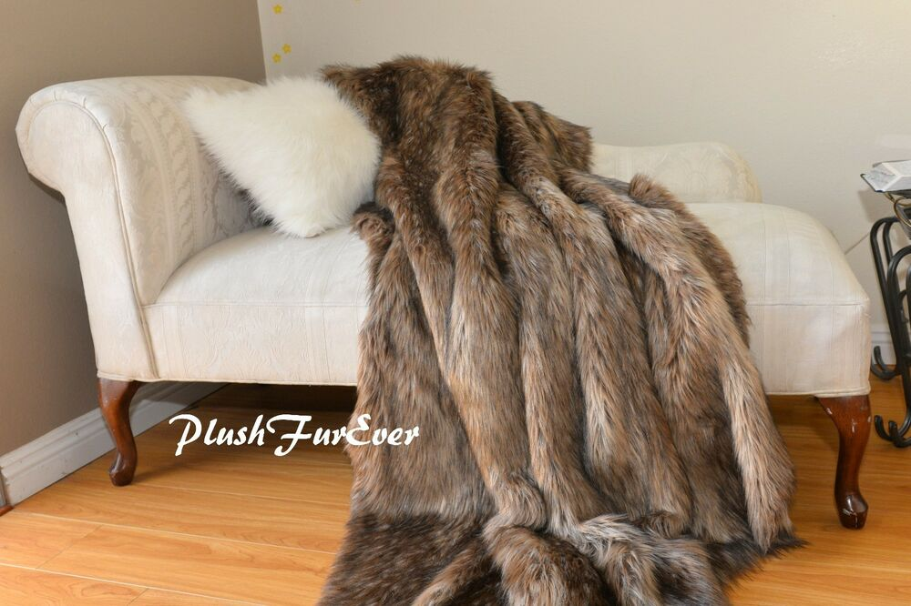 Most Popular Brown Mountain Coyote Furry Faux Throw