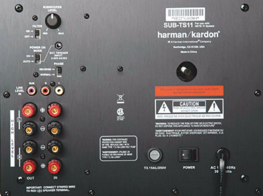 harman kardon sub ts11 powered subwoofer amplifier plate. Black Bedroom Furniture Sets. Home Design Ideas
