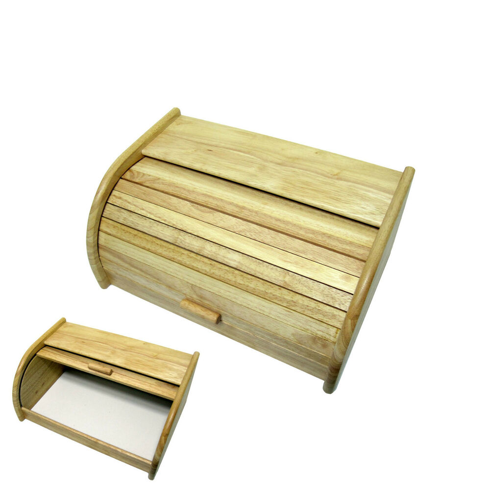 New Wooden Bread Storage Box Bread Case Food Container ...