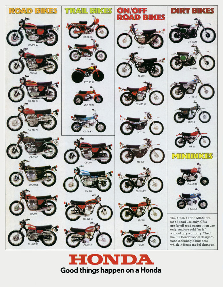 1974 Honda Line Up Full Line Vintage Motorcycle Poster Print 47x36 Big
