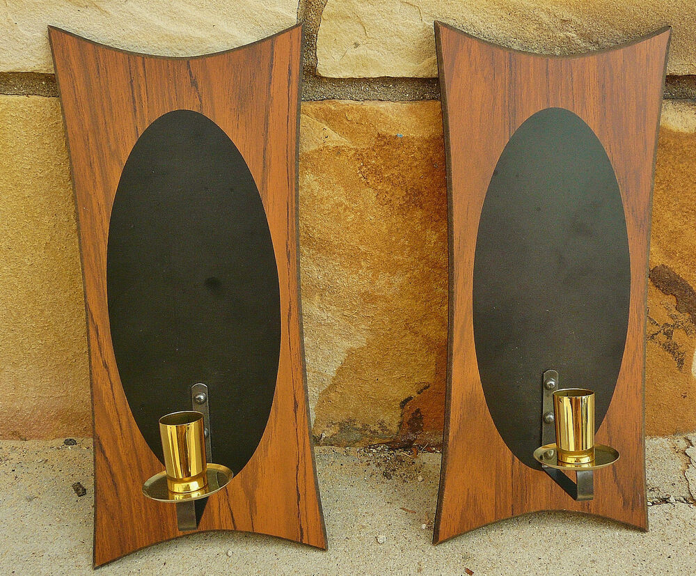 Modern Wood Wall Sconces : Vintage 50s 60s Mid Century Modern Atomic Black Wood Wall Candle Pair of Sconces eBay
