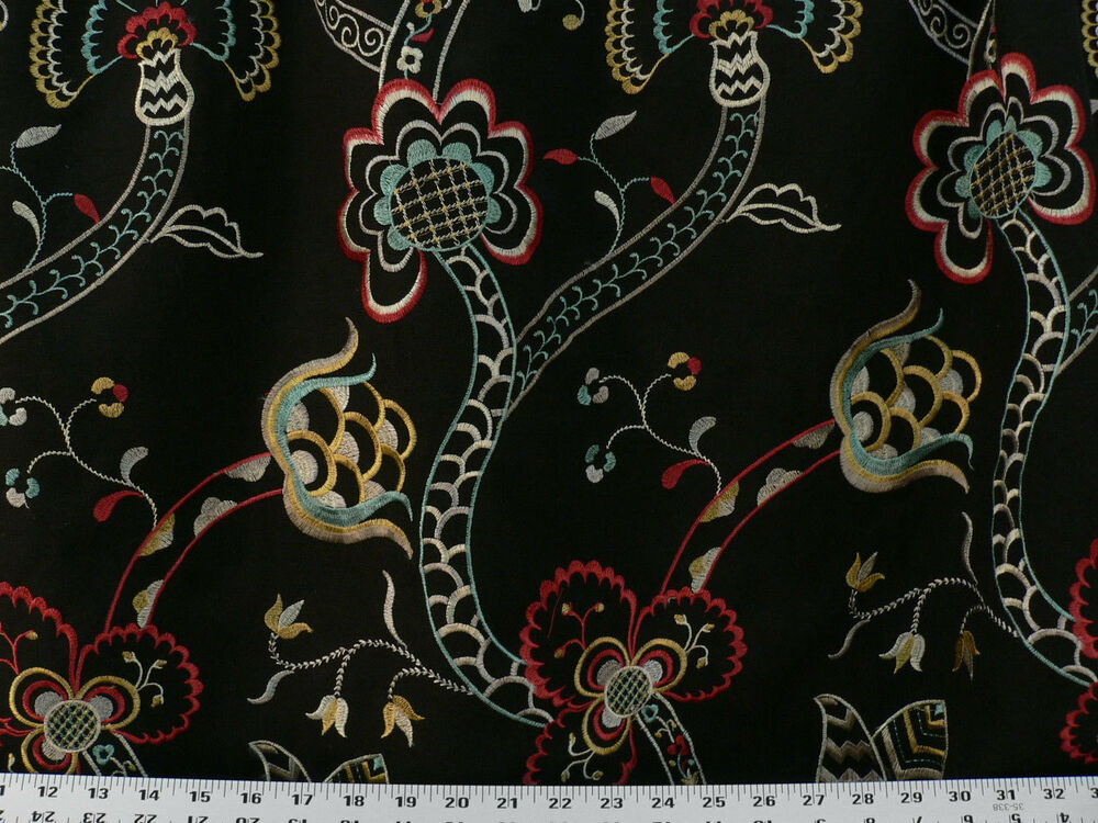 Drapery Upholstery Fabric Embroidered Floral On Durable